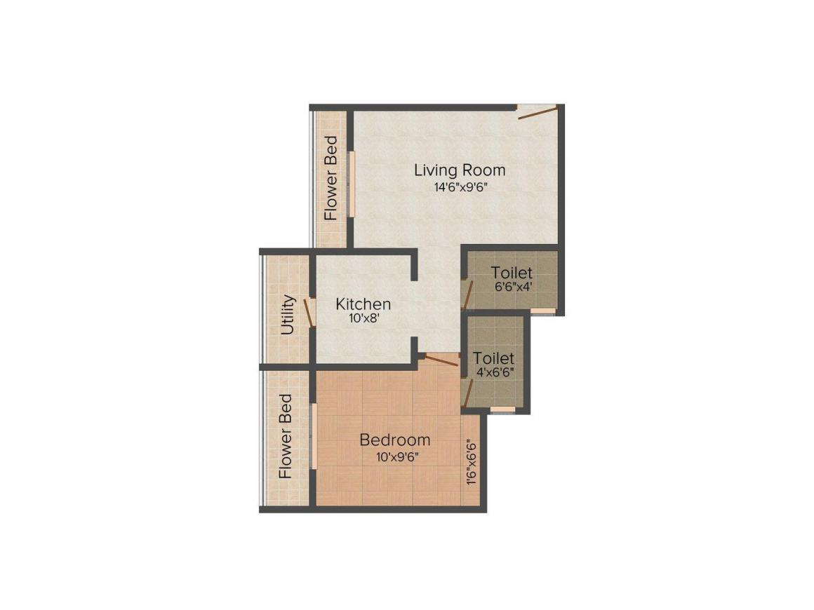 Veer Yashwant Viva Township Floor Plan: 1 BHK Unit with Built up area of 447 sq.ft 1