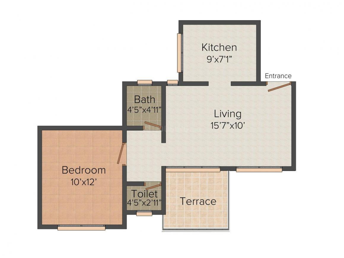 Floor Plan Image of 0 - 535.0 Sq.ft 1 BHK Apartment for buy in Shree Jagannath Darshan