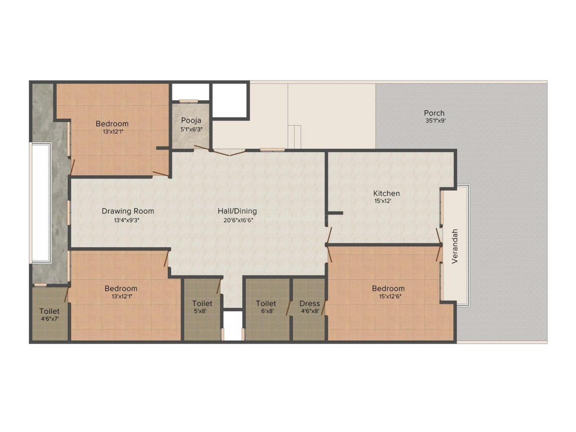 Floor Plan Image of 0 - 2200.0 Sq.ft 3 BHK Apartment for buy in Vibrant Pinkcity Shanti Nagar