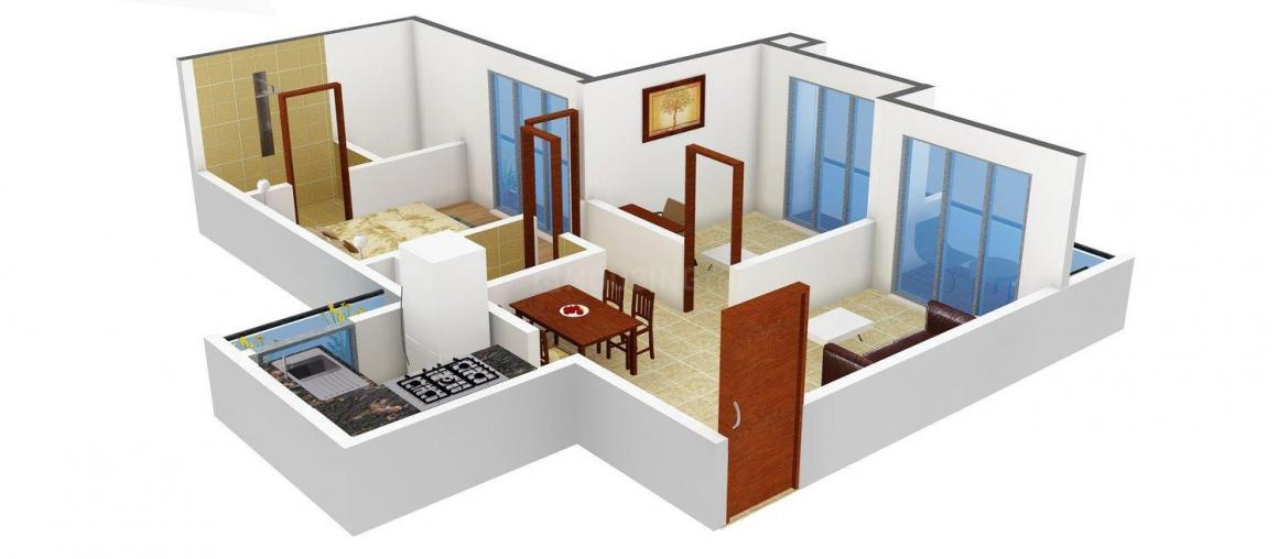 Floor Plan Image of 708 - 1086 Sq.ft 1 BHK Apartment for buy in Tricity Skyline