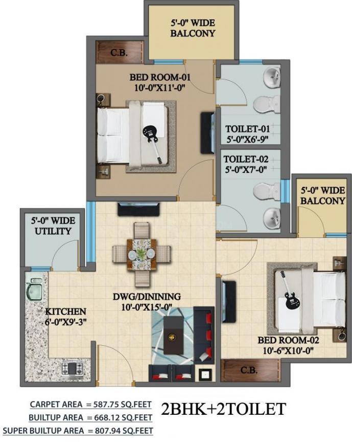 Mehak Jeevan Floor Plan: 2 BHK Unit with Built up area of 808 sq.ft 1
