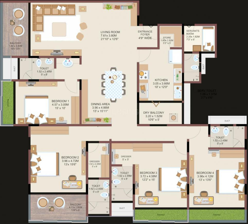 Mundra Elite Floor Plan: 4 BHK Unit with Built up area of 3285 sq.ft 1
