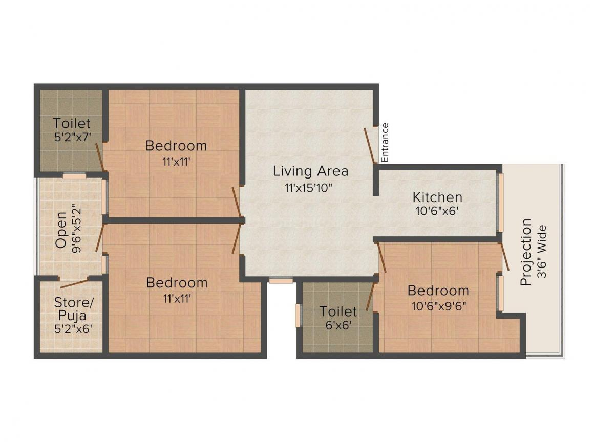 Floor Plan Image of 0 - 1035 Sq.ft 3 BHK Independent Floor for buy in Kaushal Apartment/D - 7