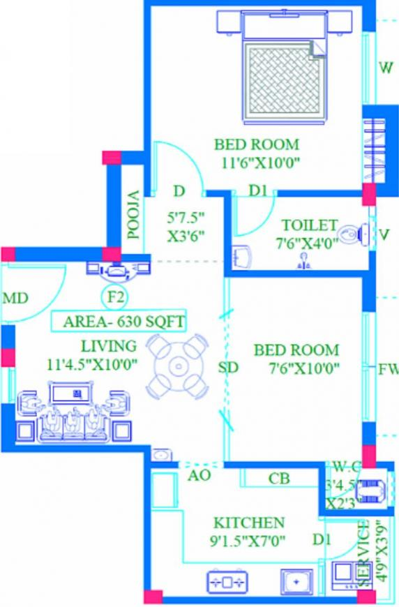 Crystal Reef One Floor Plan: 2 BHK Unit with Built up area of 630 sq.ft 1