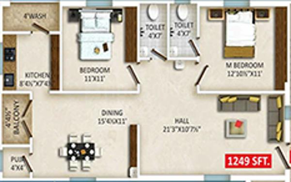 Gothic Photon B Floor Plan: 2 BHK Unit with Built up area of 1249 sq.ft 1