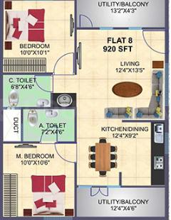 Sai Ashirwaadh Lake view Floor Plan: 2 BHK Unit with Built up area of 920 sq.ft 1