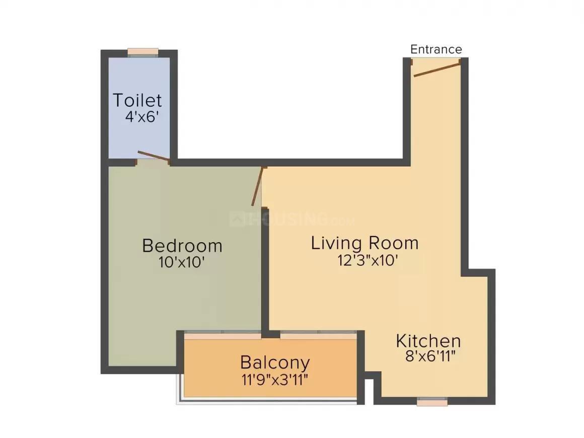 Bhoomik Ashoka Greens Floor Plan: 1 BHK Unit with Built up area of 565 sq.ft 1