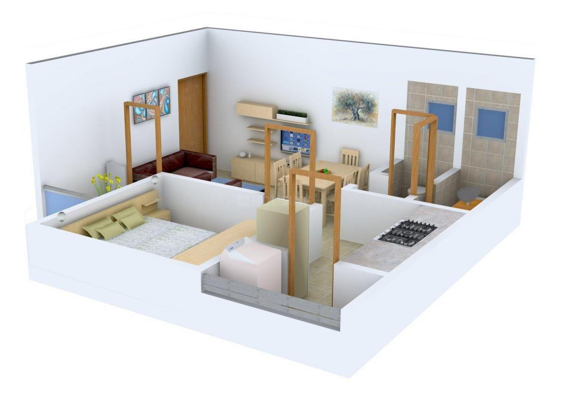 Floor Plan Image of 495.0 - 795.0 Sq.ft 1 BHK Apartment for buy in Divyadarshan Kedareshwar Park