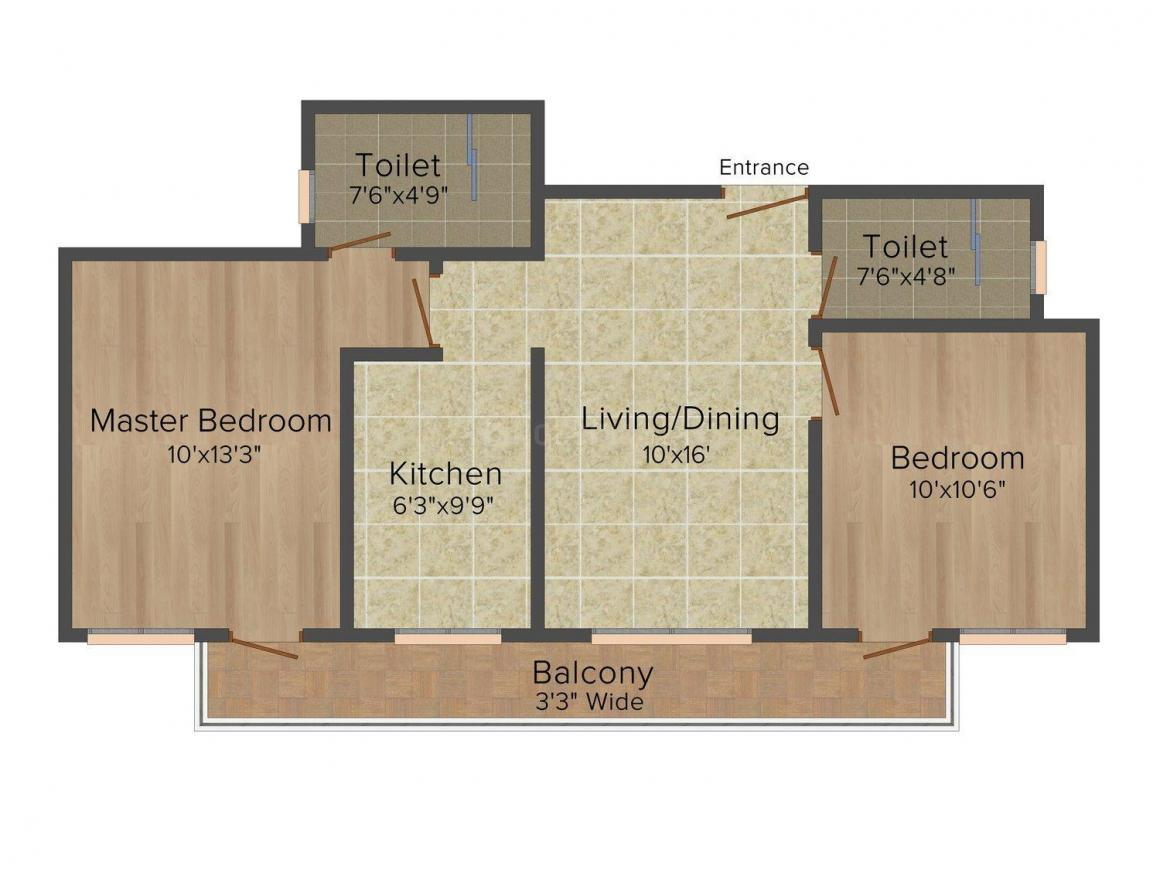 Sare Saamag Ebony Greens Floor Plan: 2 BHK Unit with Built up area of 1022 sq.ft 1