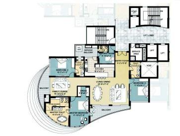 Omaxe The Forest Spa Floor Plan: 3 BHK Unit with Built up area of 2900 sq.ft 1