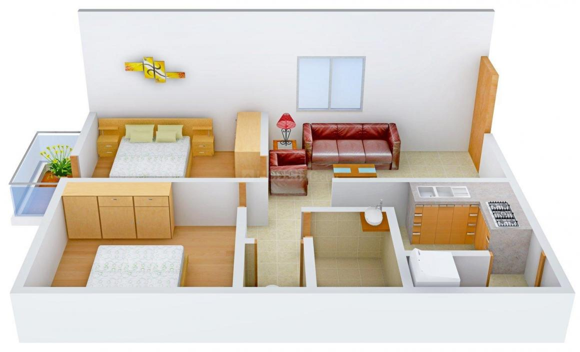 Floor Plan Image of 0 - 650 Sq.ft 2 BHK Apartment for buy in Heritage Gardens E