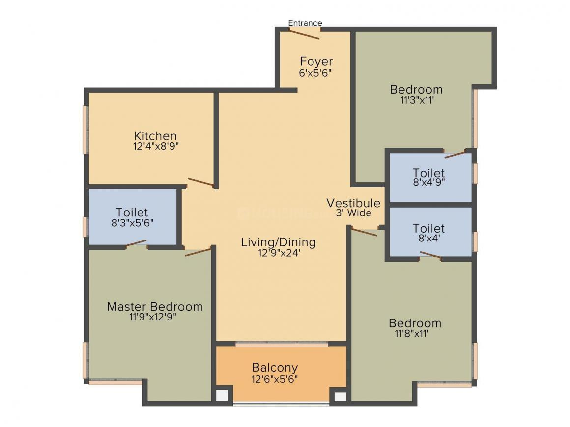 Mani Vista Floor Plan: 3 BHK Unit with Built up area of 1795 sq.ft 1
