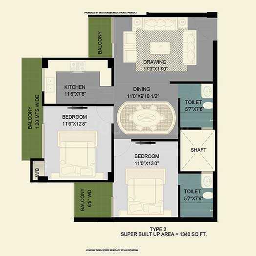 Best Park Avenue Floor Plan: 2 BHK Unit with Built up area of 1150 sq.ft 1