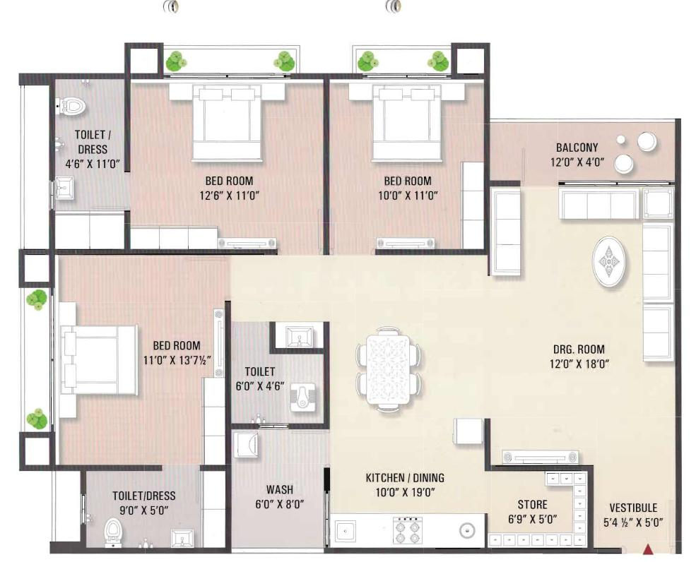 Sagar Residency Floor Plan: 3 BHK Unit with Built up area of 1077 sq.ft 1