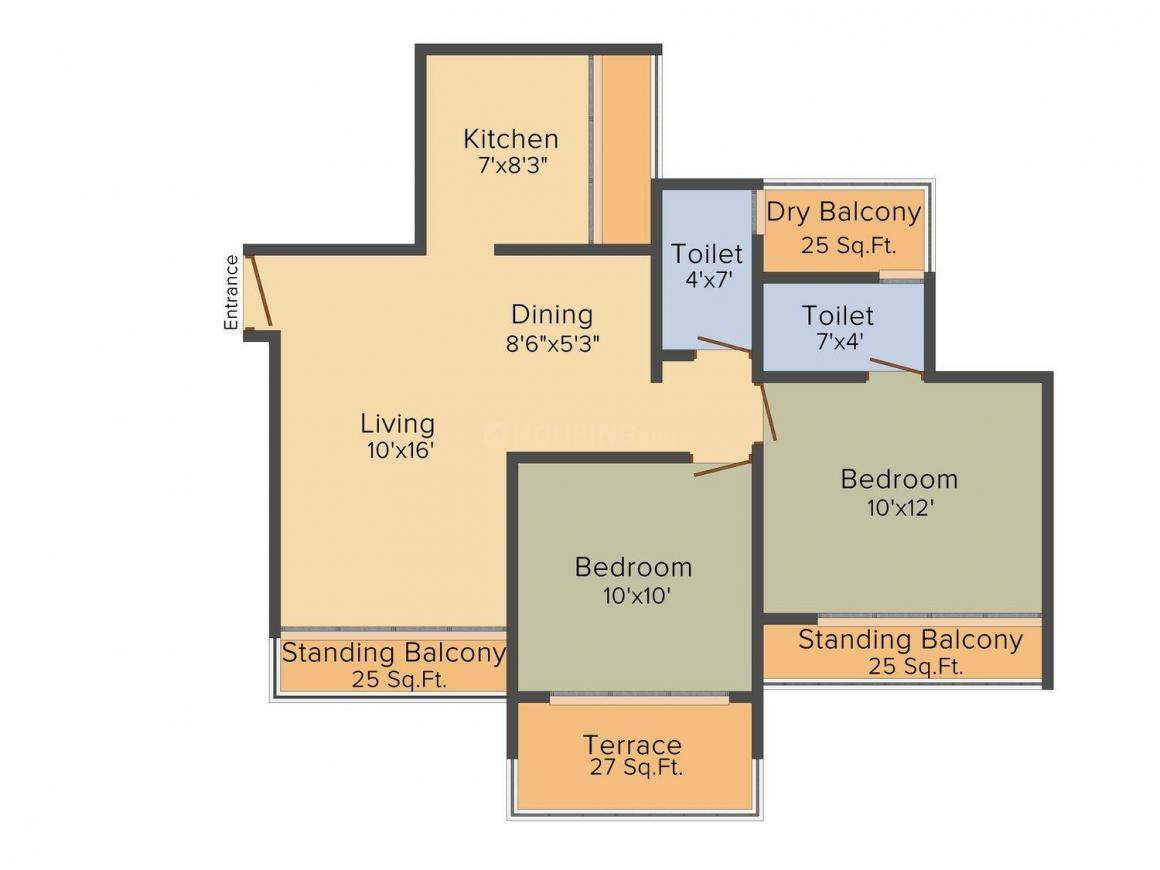 CJ Bhoomi Harmony Floor Plan: 2 BHK Unit with Built up area of 1065 sq.ft 1