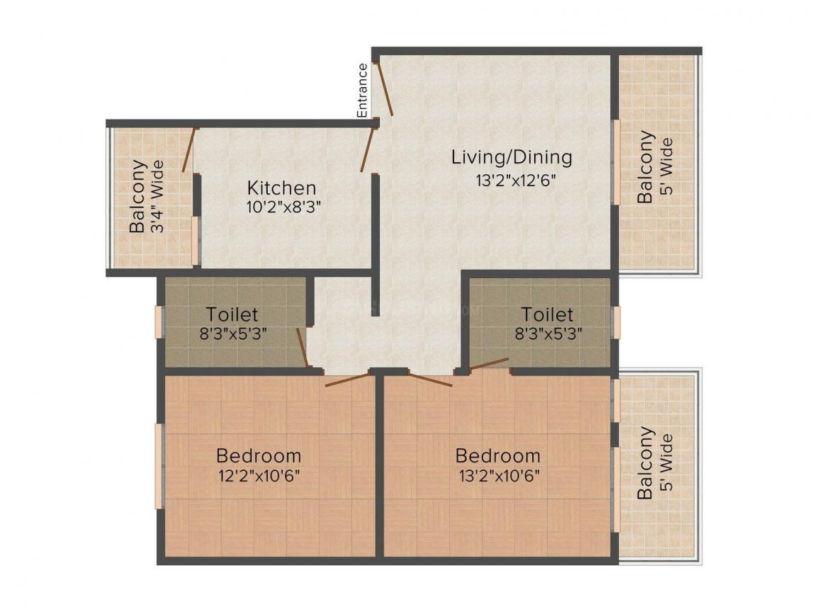 Balaji Sheetla Heights Floor Plan: 2 BHK Unit with Built up area of 650 sq.ft 1