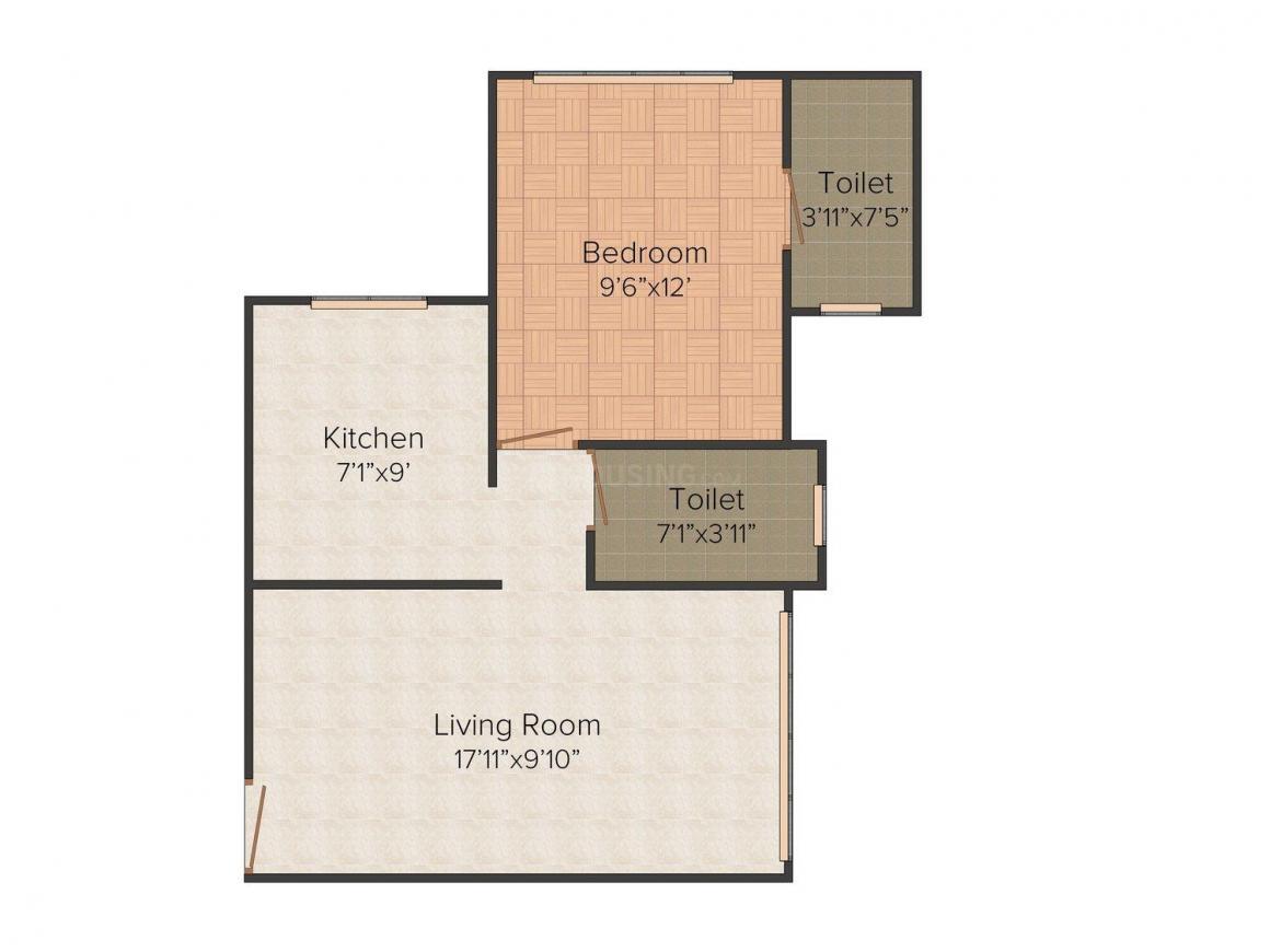 Aditya Hari Smruti CHS Floor Plan: 1 BHK Unit with Built up area of 440 sq.ft 1