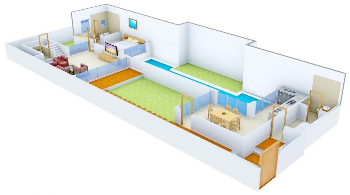 Floor Plan Image of 2070.0 - 2527.0 Sq.ft 3 BHK Villa for buy in Ambuja Frangipani