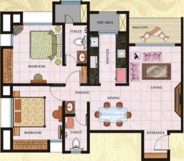 Regency Regency Towers Floor Plan: 2 BHK Unit with Built up area of 1150 sq.ft 1