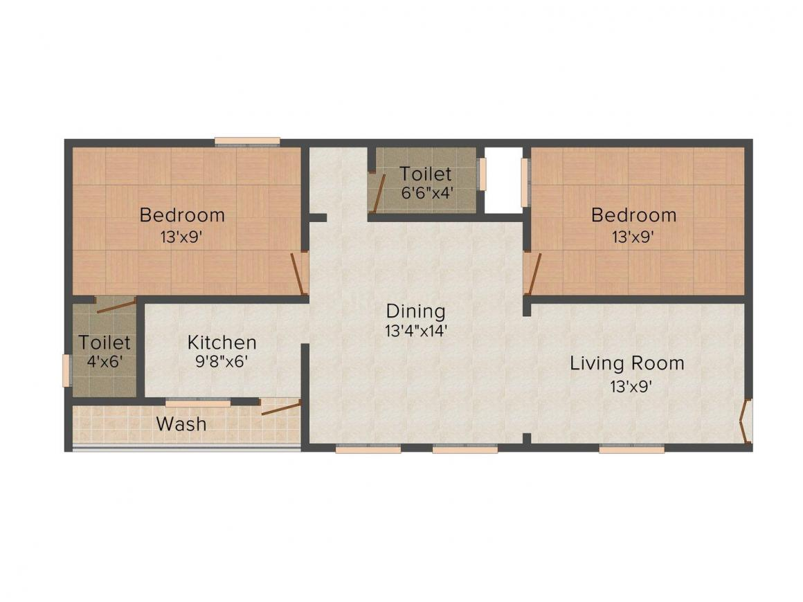Floor Plan Image of 0 - 742.0 Sq.ft 2 BHK Apartment for buy in SVS  Sri Hanu Teja Residency