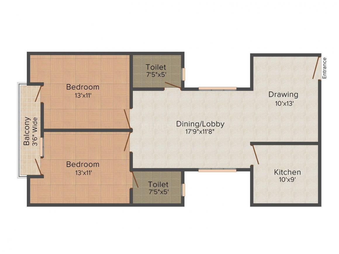 Siddhi Vinayak Uma Nilayam Phase -1 Floor Plan: 2 BHK Unit with Built up area of 1095 sq.ft 1
