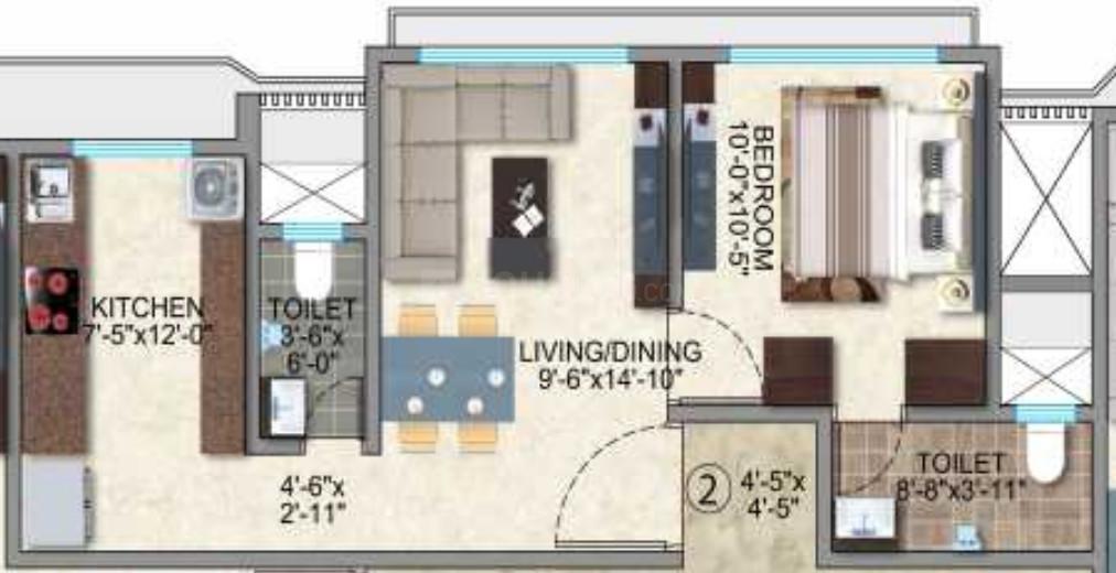 Kamla Jainson Floor Plan: 1 BHK Unit with Built up area of 421 sq.ft 1