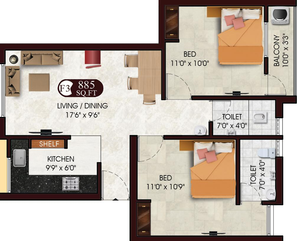 Floor Plan Image of 885.0 - 1104.0 Sq.ft 2 BHK Apartment for buy in DAC Sarvesh