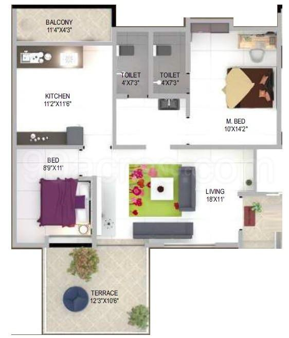 Gloria Floor Plan: 2 BHK Unit with Built up area of 1140 sq.ft 1