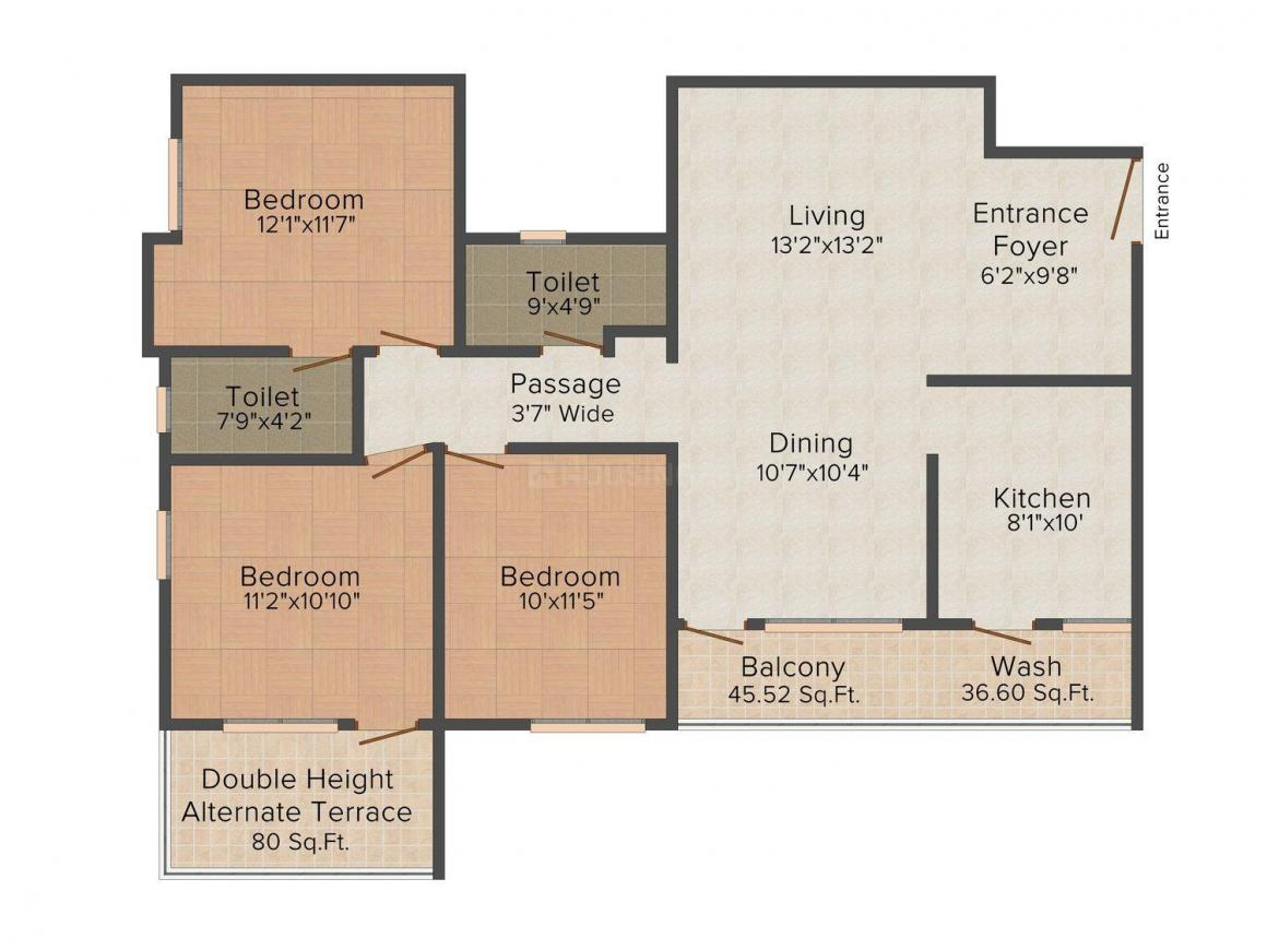 Floor Plan Image of 0 - 1355 Sq.ft 3 BHK Apartment for buy in Leverage Greens B