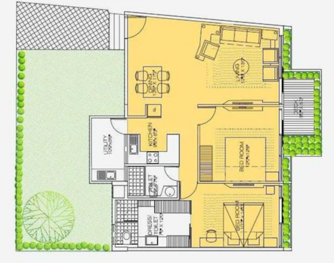 DS Max Savvy Floor Plan: 2 BHK Unit with Built up area of 1007 sq.ft 1