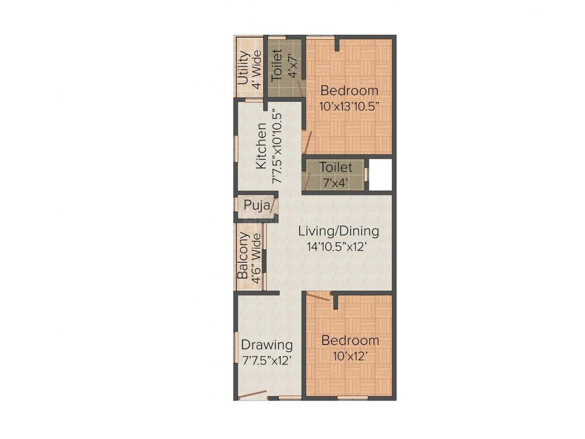 Floor Plan Image of 1066.0 - 1133.0 Sq.ft 2 BHK Apartment for buy in Jaiveer Arcade