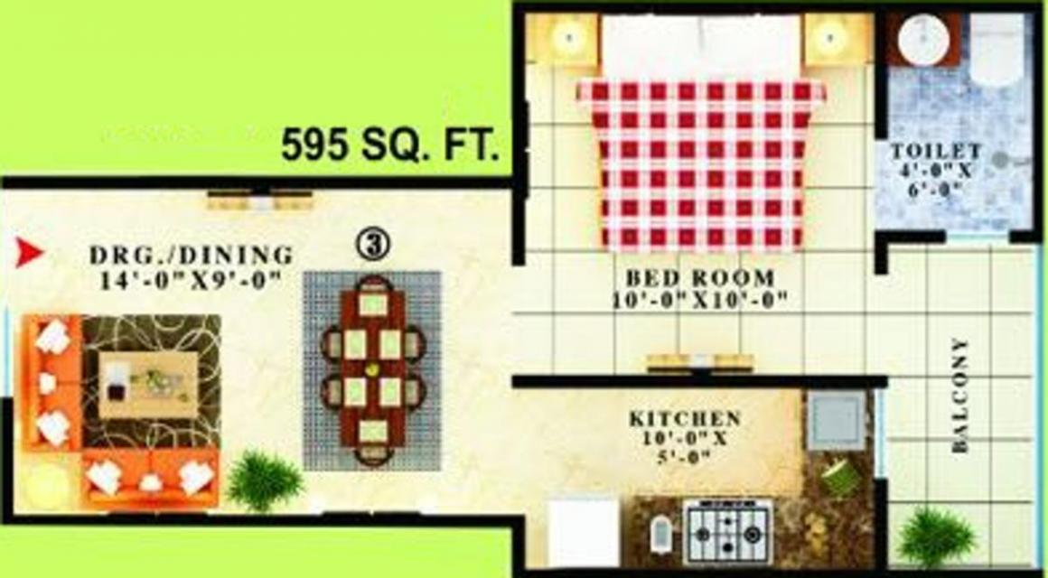 APS Homes Floor Plan: 1 BHK Unit with Built up area of 595 sq.ft 1