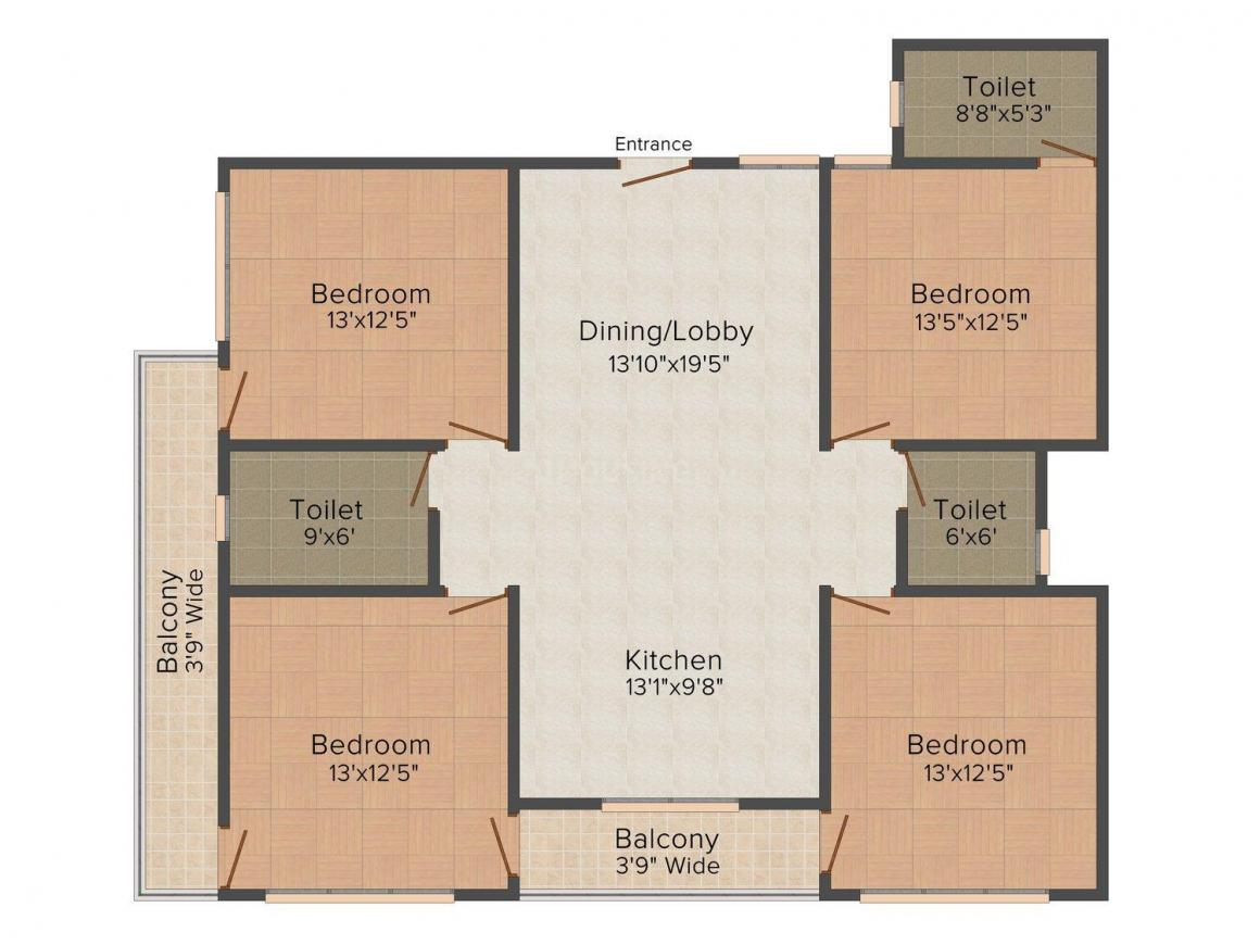 Floor Plan Image of 0 - 2000.0 Sq.ft 4 BHK Independent Floor for buy in 159, NK - 2