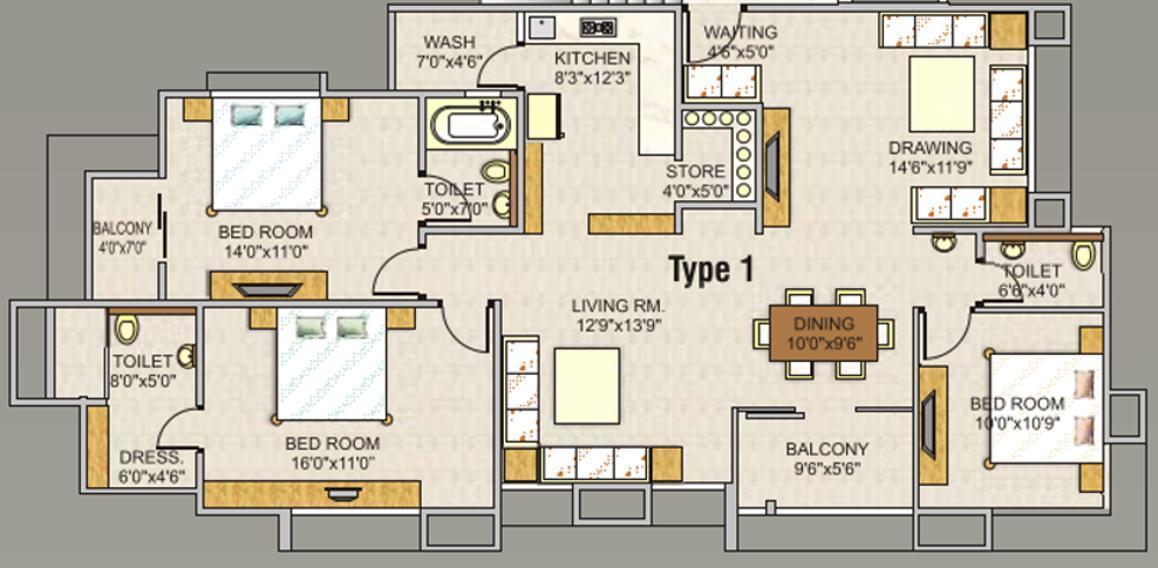 Sun SUN DIVINE 1 Floor Plan: 3 BHK Unit with Built up area of 1800 sq.ft 1
