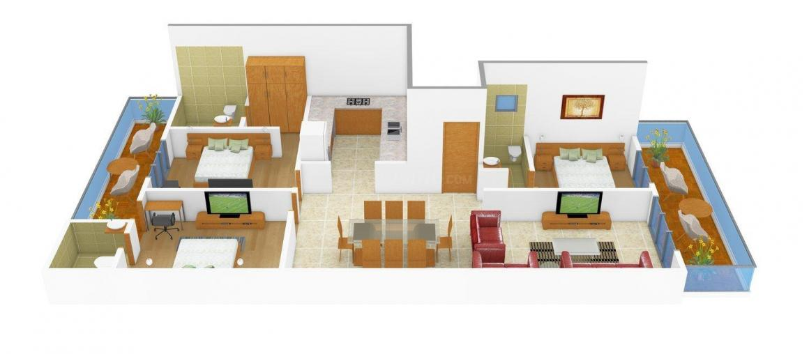 Charbhuja Floor Floor Plan: 3 BHK Unit with Built up area of 1800 sq.ft 1
