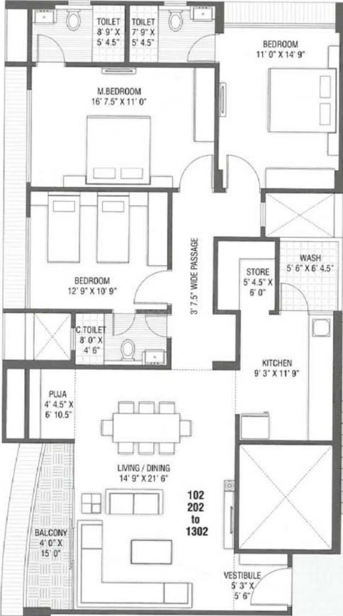 Dev Group Atelier Floor Plan: 3 BHK Unit with Built up area of 2164 sq.ft 1