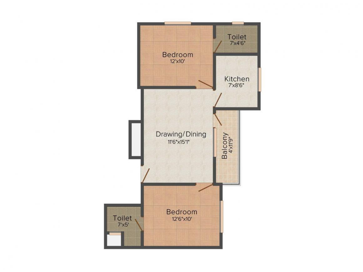 Floor Plan Image of 857 - 1000 Sq.ft 2 BHK Apartment for buy in Apple Prosperity Tower