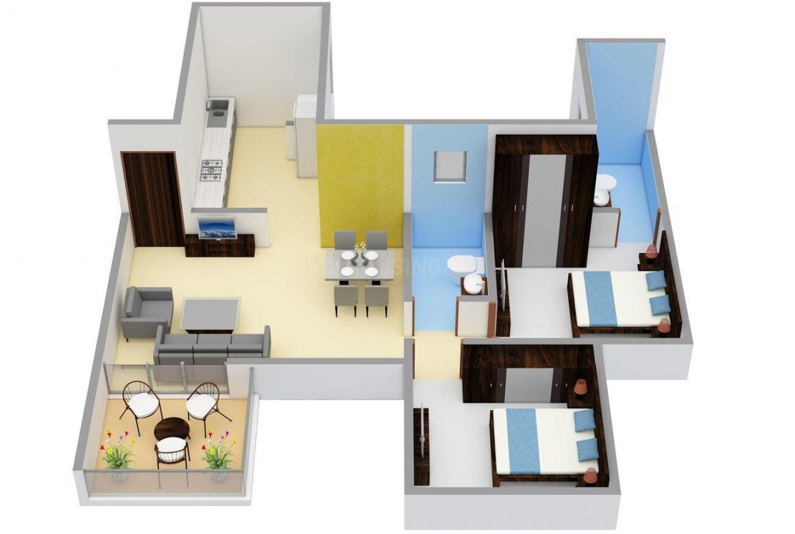 K Ville Floor Plan: 2 BHK Unit with Built up area of 664 sq.ft 1