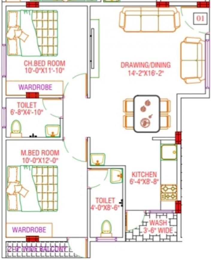 Brindavana Sai Samuruddhi Luxor Floor Plan: 2 BHK Unit with Built up area of 900 sq.ft 1