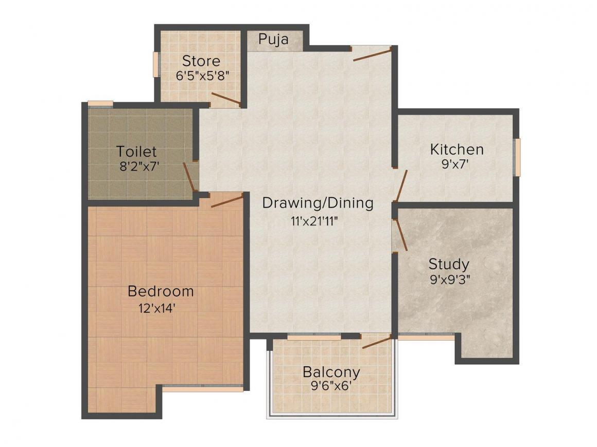Floor Plan Image of 905.0 - 1038.0 Sq.ft 1.5 BHK Apartment for buy in ARG Vintage Homes