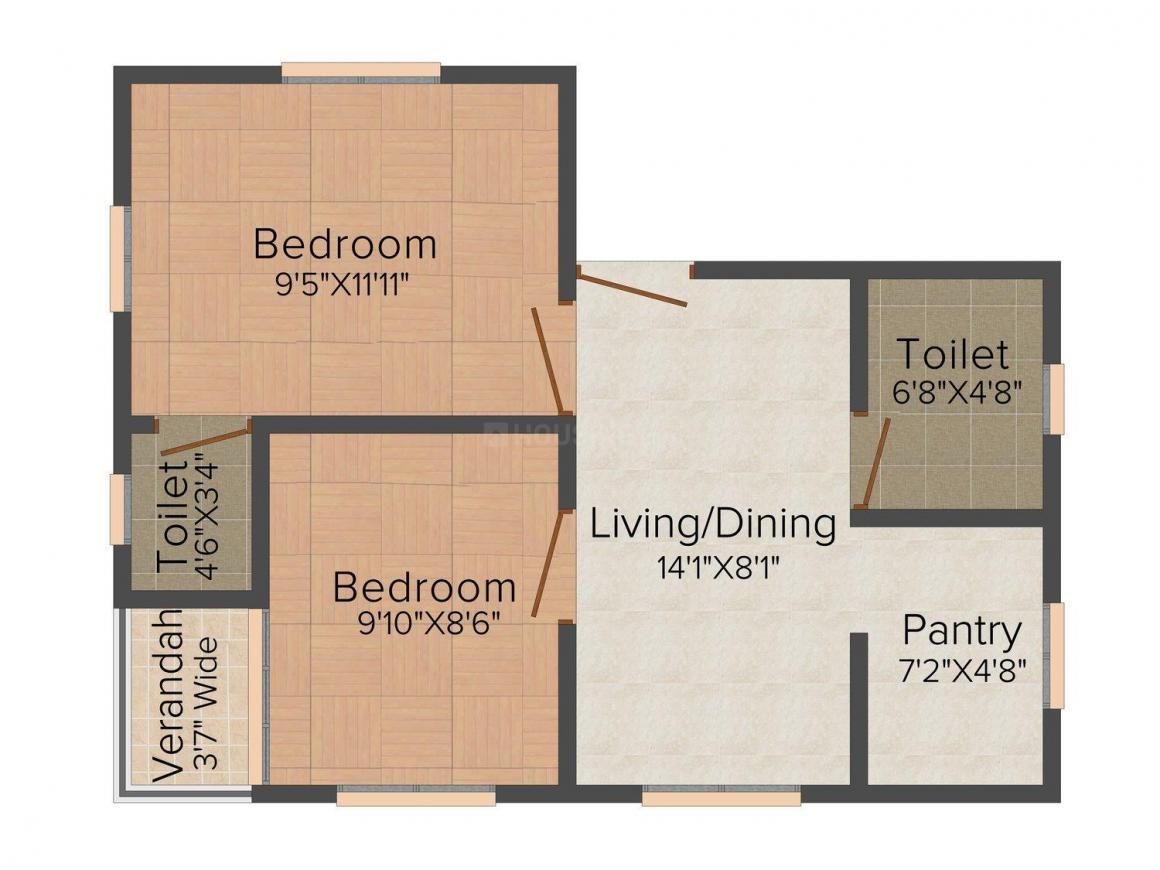 Ortem Credit  Radhika Sai Floor Plan: 2 BHK Unit with Built up area of 659 sq.ft 1