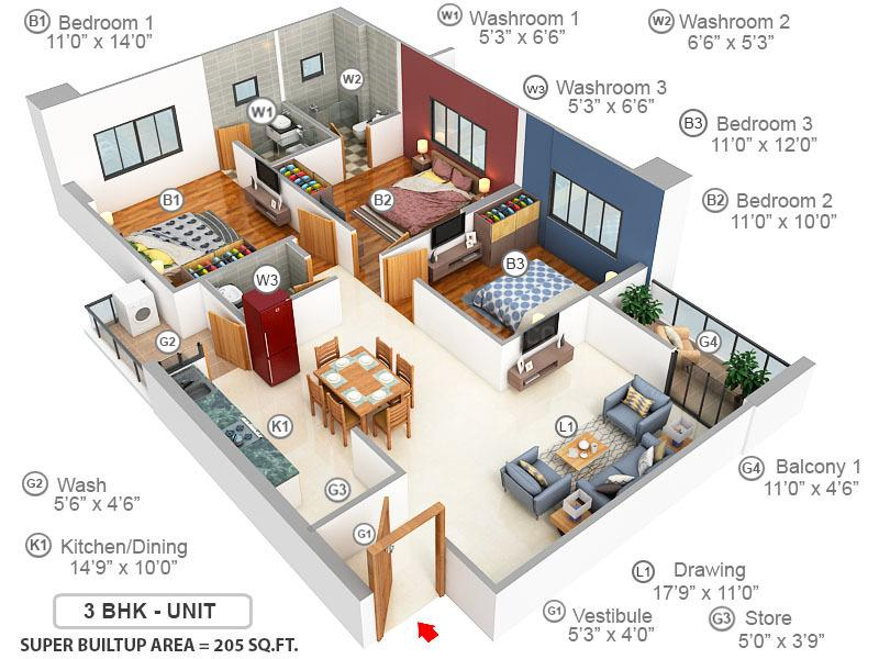 ANTILIA Floor Plan: 3 BHK Unit with Built up area of 205 sq.yd 1