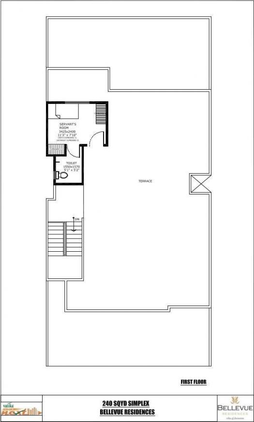Vatika Bellevue Residences Floor Plan: 3 BHK Unit with Built up area of 2160 sq.ft 1