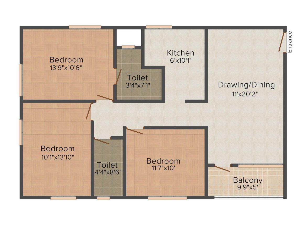 Floor Plan Image of 0 - 1450 Sq.ft 3 BHK Apartment for buy in Triveni Exotica