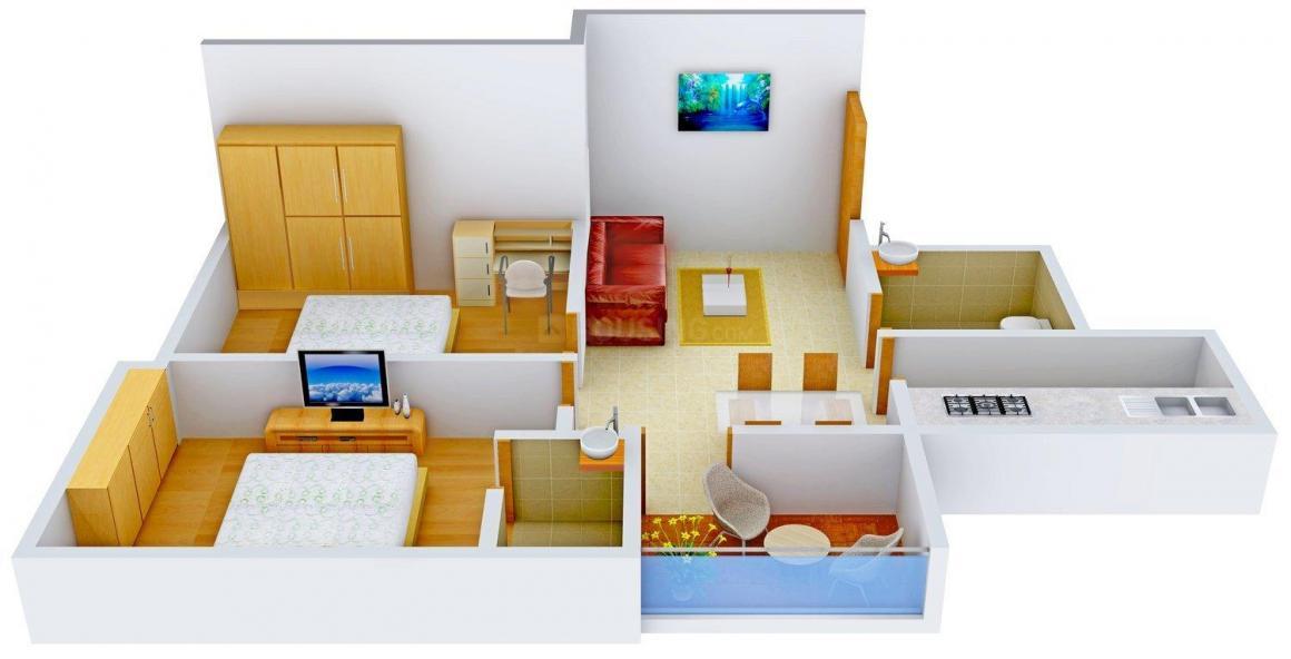 Floor Plan Image of 860 - 1150 Sq.ft 2 BHK Apartment for buy in Keshob Enclave