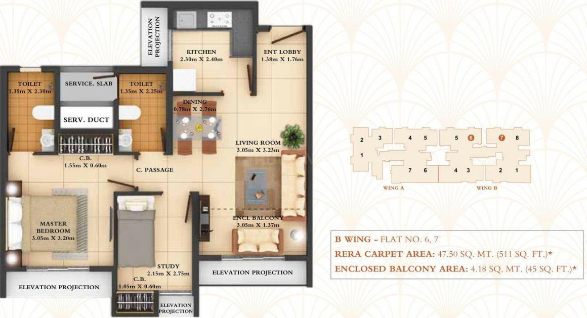 Dosti West County Phase 4 Dosti Pine Floor Plan: 2 BHK Unit with Built up area of 556 sq.ft 1