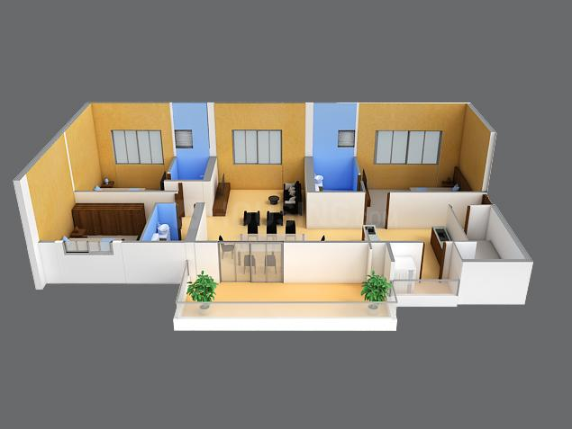 Merlin The Fourth Floor Plan: 3 BHK Unit with Built up area of 1562 sq.ft 1