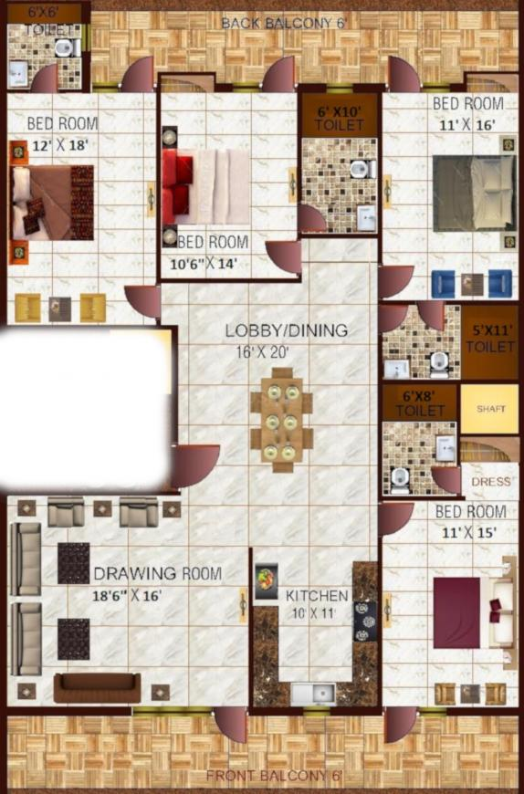Richlook Gracious Floors 2 Floor Plan: 4 BHK Unit with Built up area of 3150 sq.ft 1