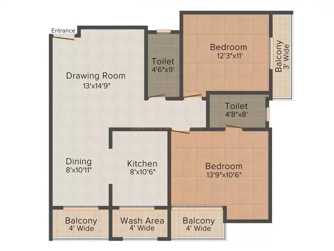 Mannat Pearl Floor Plan: 3 BHK Unit with Built up area of 1100 sq.ft 1