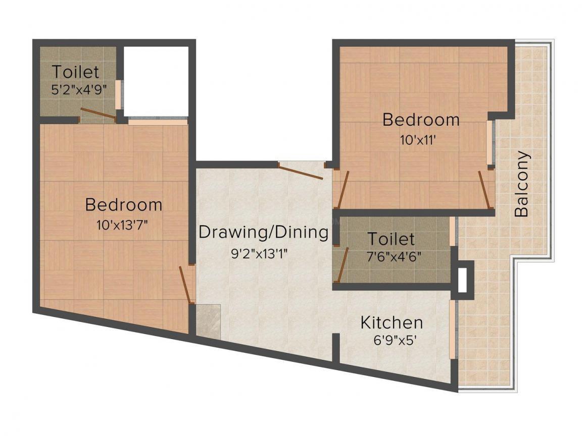 Floor Plan Image of 0 - 750.0 Sq.ft 2 BHK Independent Floor for buy in Ganpati Site - 1